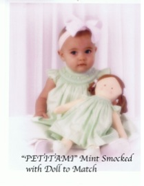 PetitAmi Mint Smocked with Doll to Match